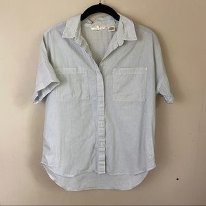 Levi's Blue & Ivory Pinstripe S/S Button Down Top